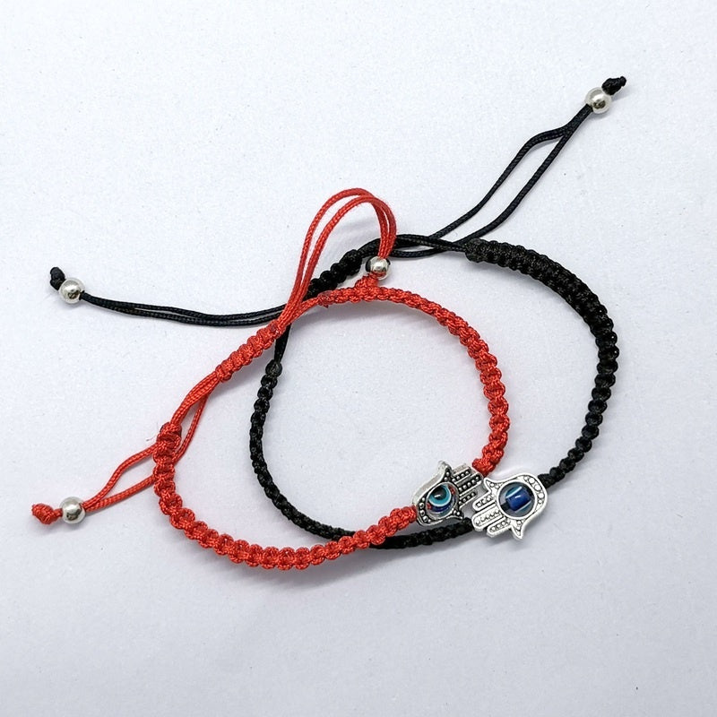 2 Pcs Braided Red String Kabbalah Bracelet Rotating Evil Eye Lucky Hamsa Hand Protection Amulet Adjustable Black New