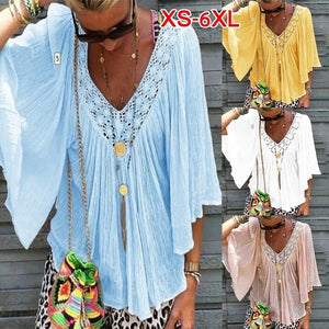 2019  Summer Womens Casual Loose V-neck Short Sleeve Blouse Tops Summer Loose Shirts Lace Stitching Blouse Plus Size