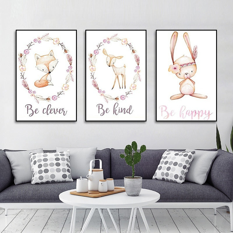 Minimalist Flowers Fox Rabbit Cartoons Animal Canvas Paintings Wall Art Prints And Posters Wall Pictures For Nursery Baby Kids Room Decor No Frame 21x30cm