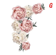 Load image into Gallery viewer, Roses Peony Floral Wall Decals Blush Pink and White Flowers Self Adhesive Wall Stickers Wall Mural for Women Men Boys Girls Home Decor