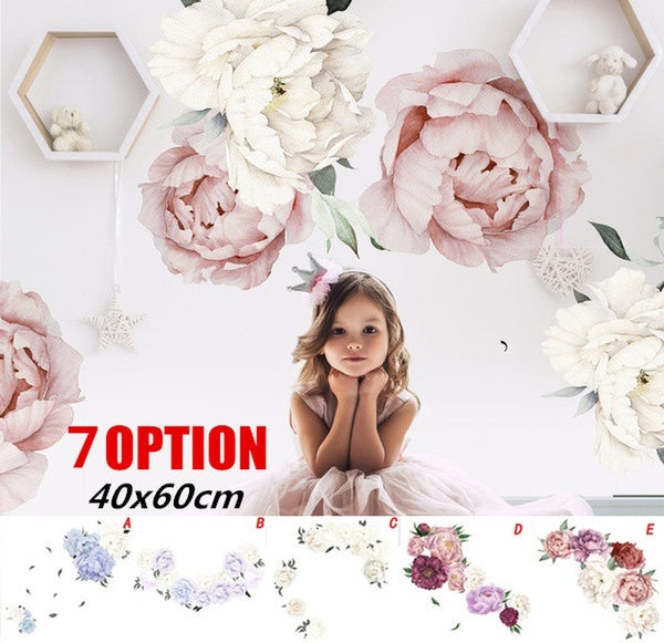 Roses Peony Floral Wall Decals Blush Pink and White Flowers Self Adhesive Wall Stickers Wall Mural for Women Men Boys Girls Home Decor