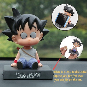 Dragon Ball Z and One Piece Luffy Chopper Goku Kuririn Car Decoration Shaking His Head Doll Phone Bracket Action Figure Toys