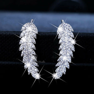 Sparkling feather ear climbers cuff Earrings 925 Sterling silver & 18k gold crystal gemstone leaves cluster wedding earrings for women