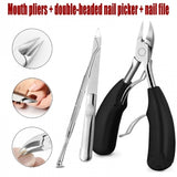 3pcs Professional Stainless Steel Toe Nail Lifter Clipper Set Manicure Tool