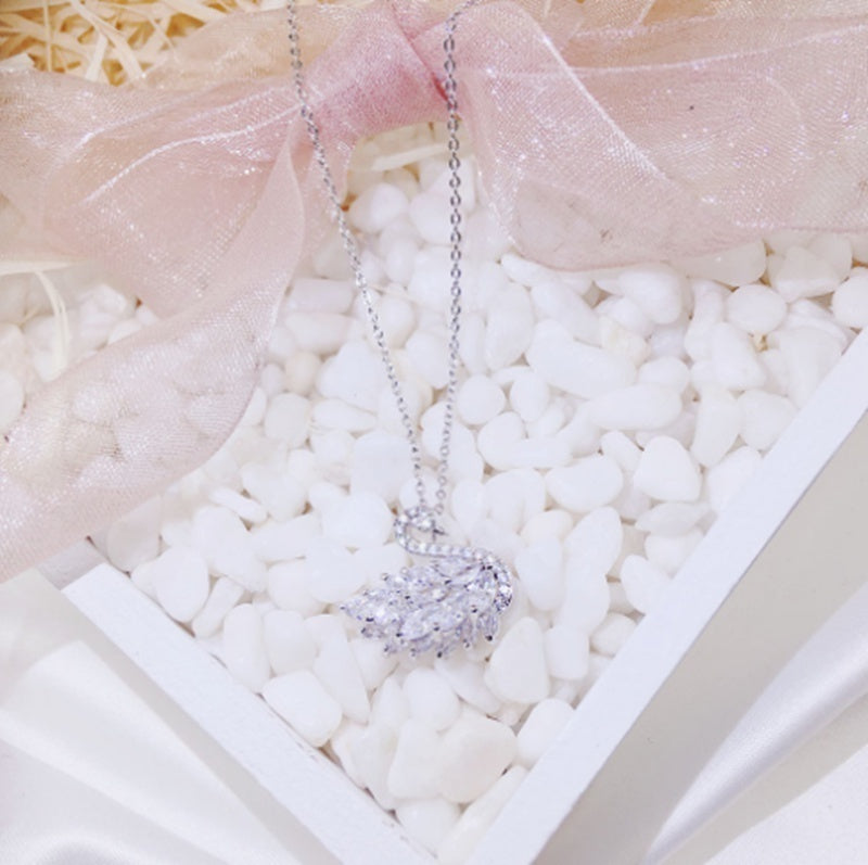 925 Silver Women's Fashion Necklace Pendant Fashion Girl Swan Zircon Crystal Necklace