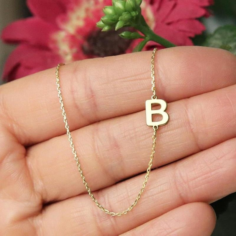 Sideways Initial Necklace, Letter Necklace, Asymmetrical Mini Letter Necklace, Bridesmaids Gifts, Personalized Necklace, Initial Necklace