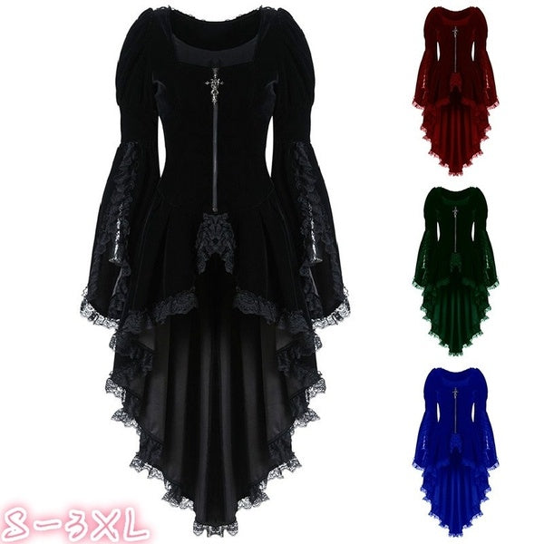 Women Fashion Long Sleeve Lace Elegant Tuxedos Cosplay Costume Steampunk Gothic Medieval Dress Vampire Costume Tailcoat Dovetail Dress