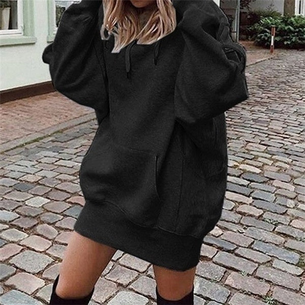 Spring Autumn Fashion Women's Casual Oversized Hoodies Front Pocket Hooded Pullover Outwear Sweatshirts