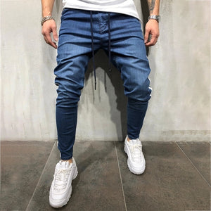 Men's Denim Fabric Casual Sports Personality Side Stitching Jeans