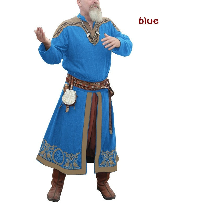 Men Medieval Viking Shirt Long Sleeve Renaissance Costume Men Tunic Stage Costumes Warrior Pirate Tops Cosplay Costumes Fantasy Clothing (Without Belt and Other Accessories )