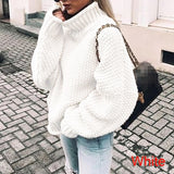 Womens Casual Batwing Long Sleeves High Collar Loose Autumn Winter Knitted Pullover Sweaters