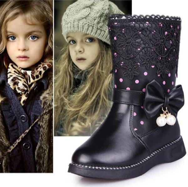Girls Bow-knot Winter Boots Children PU Leather Lace Snow Warm Shoes