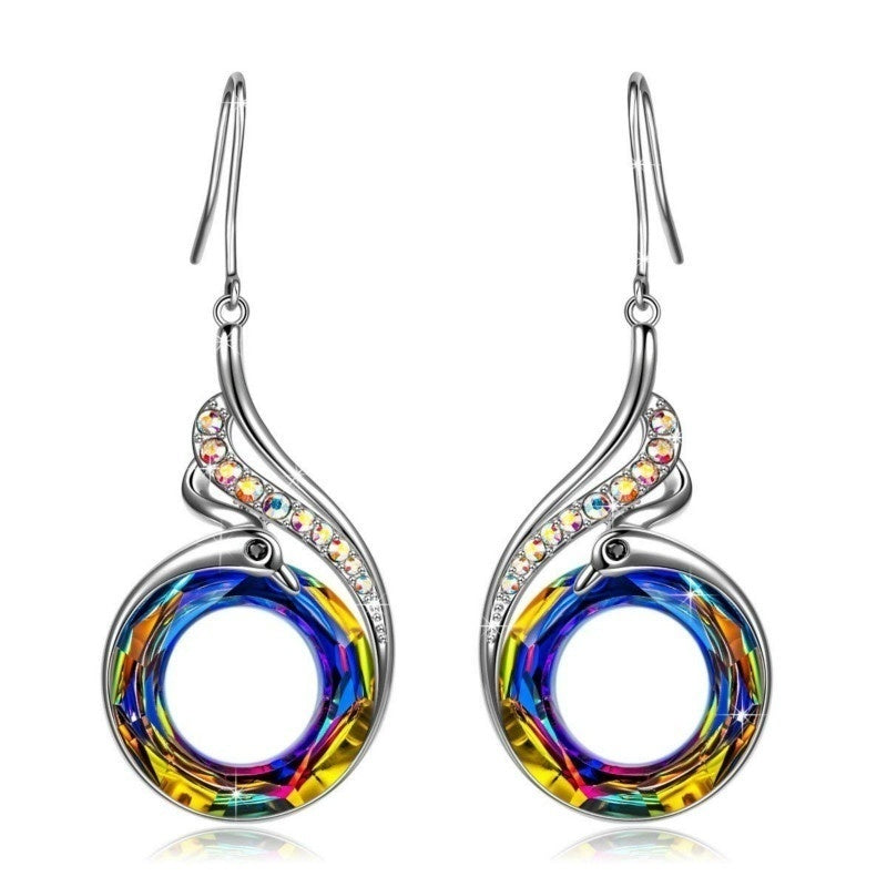 Unique Personality 925 Sterling Silver Multi Color Nirvana Of Phoenix Crystal Diamond Dangle Earrings For Temperament Women Jewelry Accessories