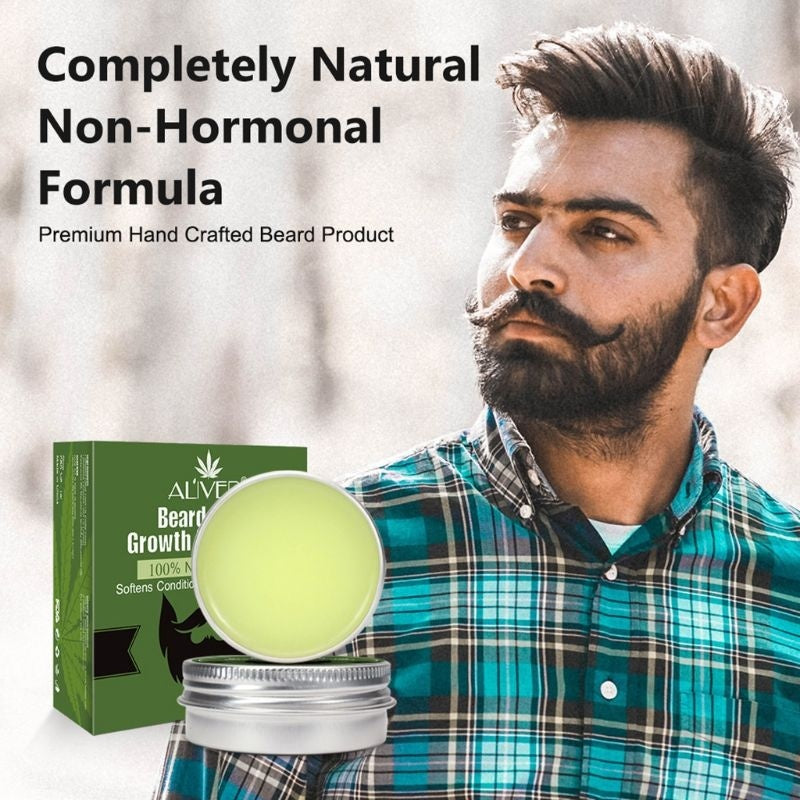 30g Men Organic Beard Hair Growth Plant Oil Balm Moustache Repair Wax Styling Moisturizing Smoothing Nutrition Conditioner QZW