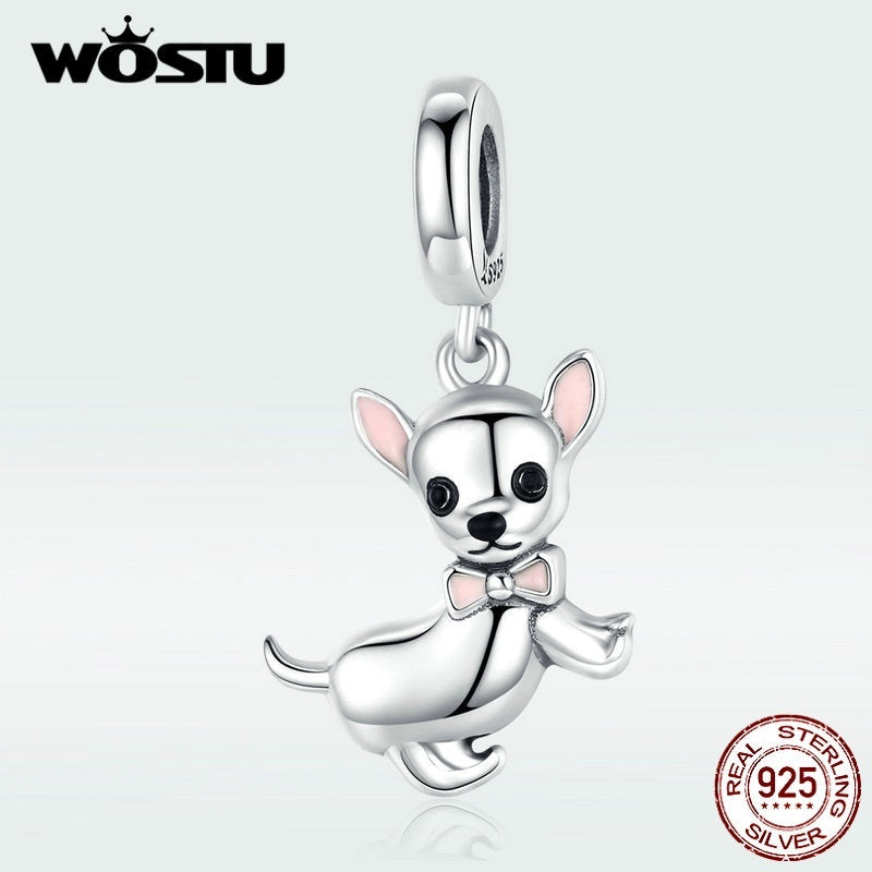 Wostu Chihuahua Loyal Friend Charm 925 Silver Lovely Beads Pendant Fit Diy Sister Bracelet Friendship Necklace Jewelry Making