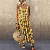 Summer Women Totem Printed Off Sholuder Casual Dresses Round Neck Loose Holiday Beach Long Dresses Plus Size S-5XL