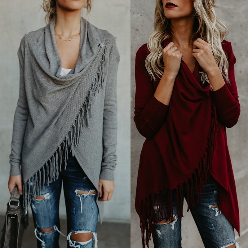 New Arrival Fashion Irregular Collar Tassels Decor Knitted Cardigan Stylish Loose Coat Knit Cape Smock Blouse Plus Size XS~XXXXXL