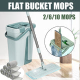 10Pads/20Pads/1Mop with 2Pads Set Flat Bucket Mops Fiber Hand-Free Wringing Floor Cleaning Free Hand Spin Washing Ultrafine Floor Mop