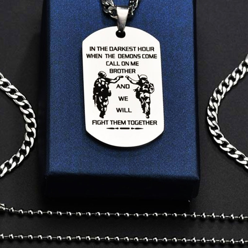 Stainless Steel Dog Tags Necklace for Men,We Will Fight Them Together We Are Forever Comrades Forever Brothers