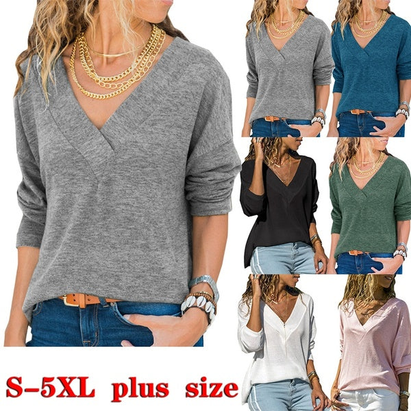 6 Color Fall Women Long Sleeve Solid Color Knitted Sweater Ladies V Neck Casual Plus Size Cotton Tops S-5XL