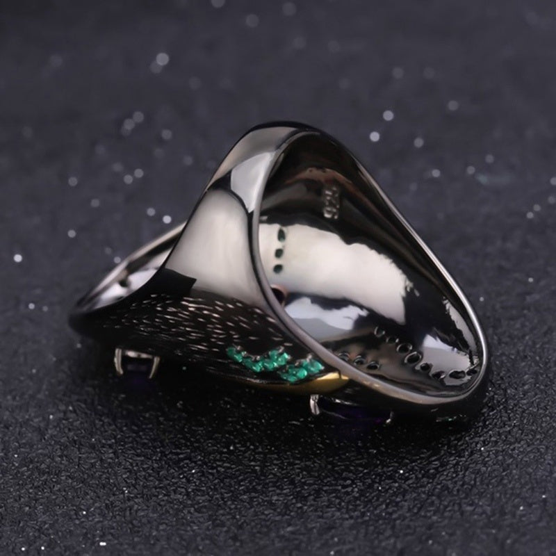 Women'S Fashion Luxury Charm 925 Sterling Silver Ring Gold Plated Amethyst Leaf Ring Wedding Band Engagement Gifts