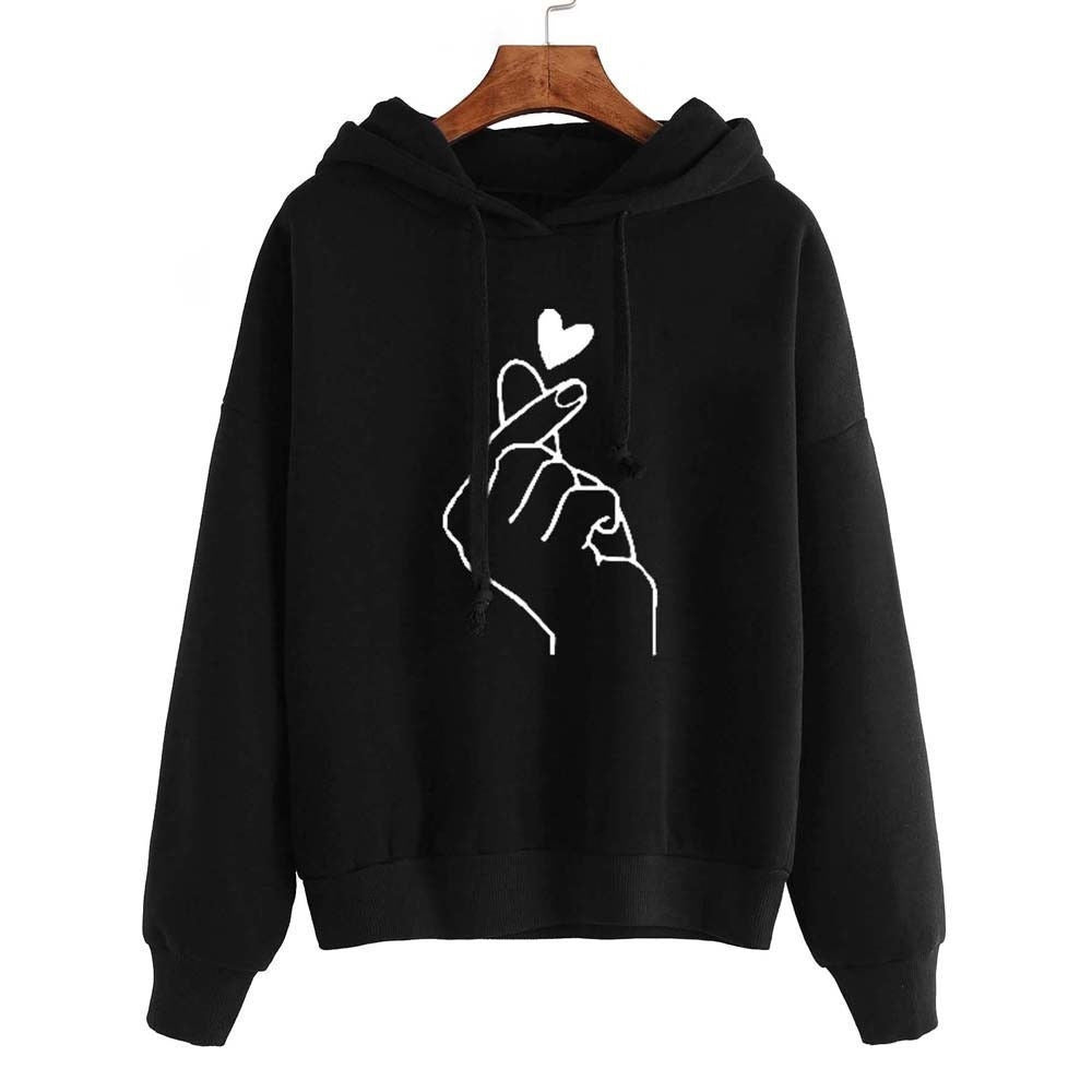 Women's Long Sleeve Solid Color Print Heart Shaped Hooded Sweater Hoodie Casaul Finger Hooded Pullover Hoodie Sweatshirt Suitable for BTS Fans Large Size