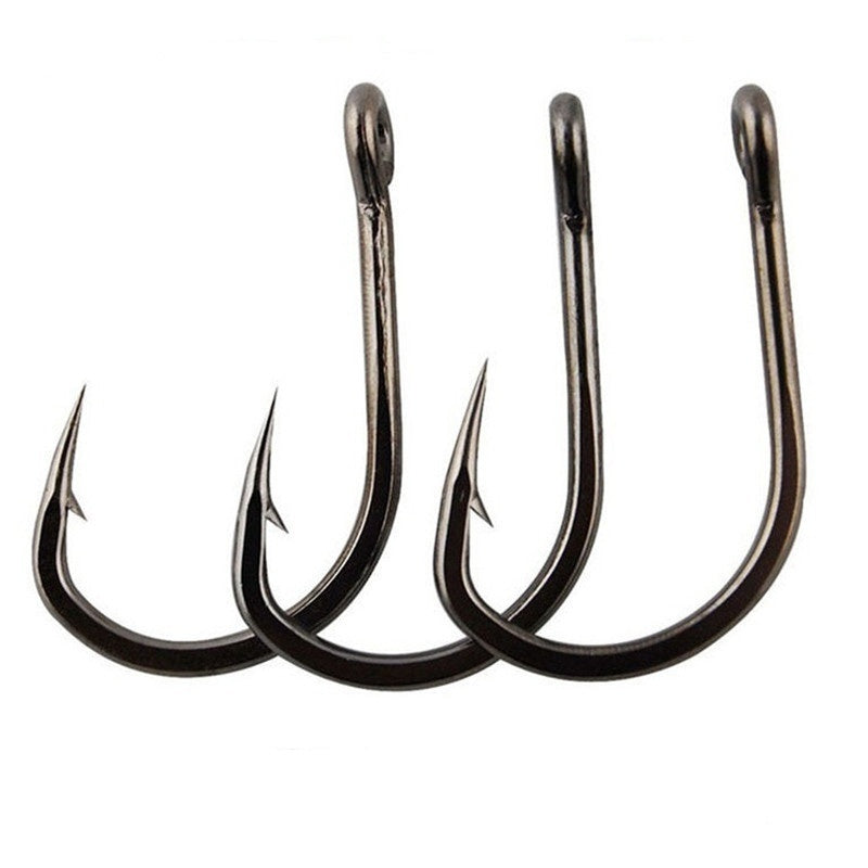 100Pcs/box #3~#12 High Carbon Steel Hooks, Sport Circle Silver Fishing Hooks