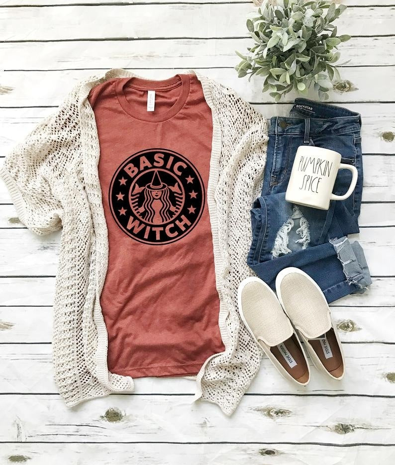 Women's Fashion Short Sleeve Round Neck Letters Print Basic Witch Fall Tee Shirt Halloween T-shirt