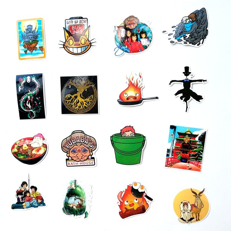 100Pcs Hayao Miyazaki Anime Sticker For Notebook Luggage Car Totoro Howl's Moving Castle PVC No Repetition Sticker