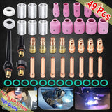 49PCS For WP-17/18/26 TIG Welding Torch Stubby Gas Lens 10 Pyrex Glass Cup Kit Durable Practical Welding Accessories Easy Use