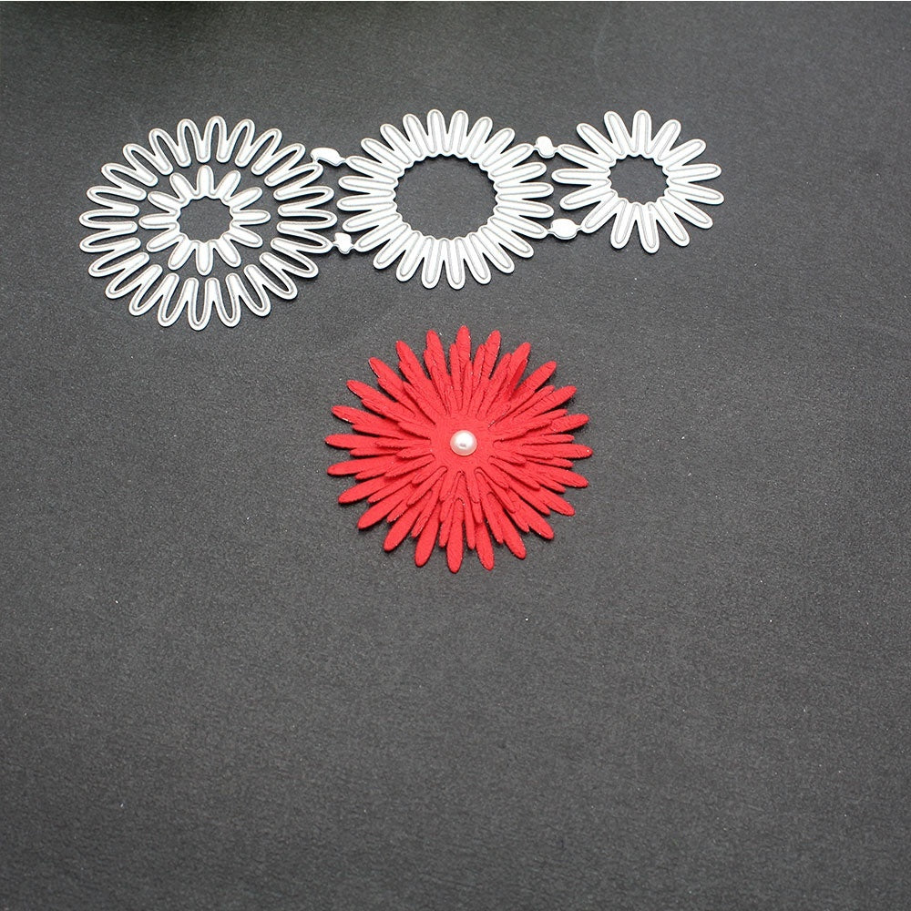Metal Cutting Dies 3pcs flower circle layer Scrapbooking Craft Dies cut Embossing diy Card making create Stencils