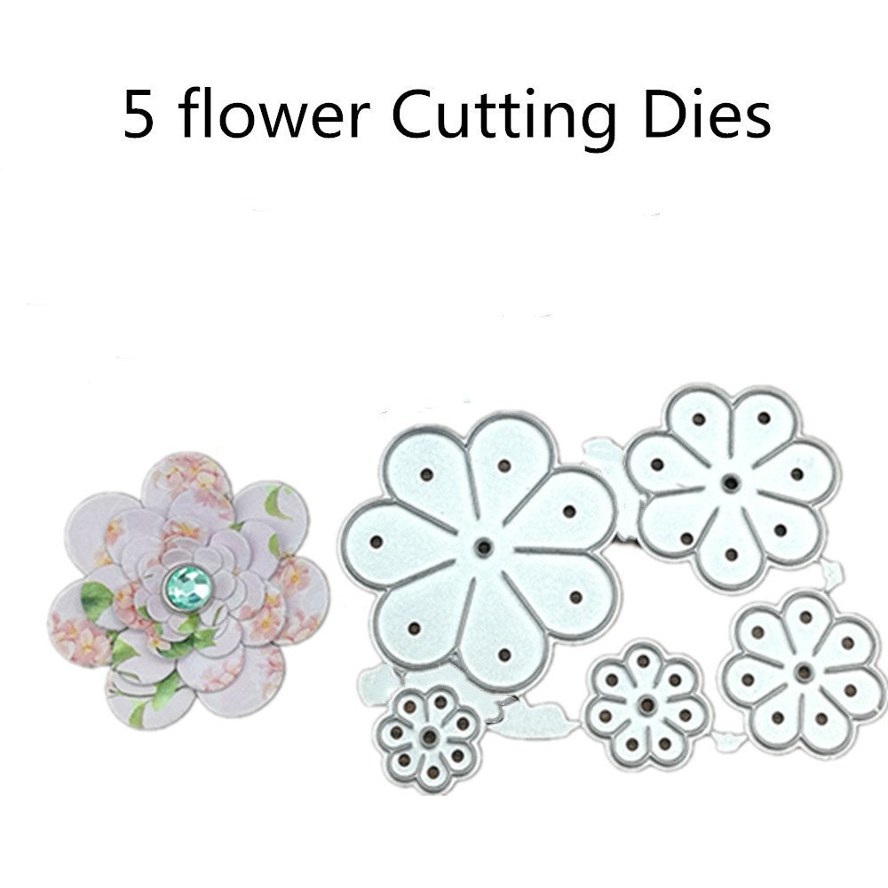 5pcs flower Metal Cutting Dies Stencils For DIY Scrapbooking Decorative Embossing Handcraft Die Cutting Template