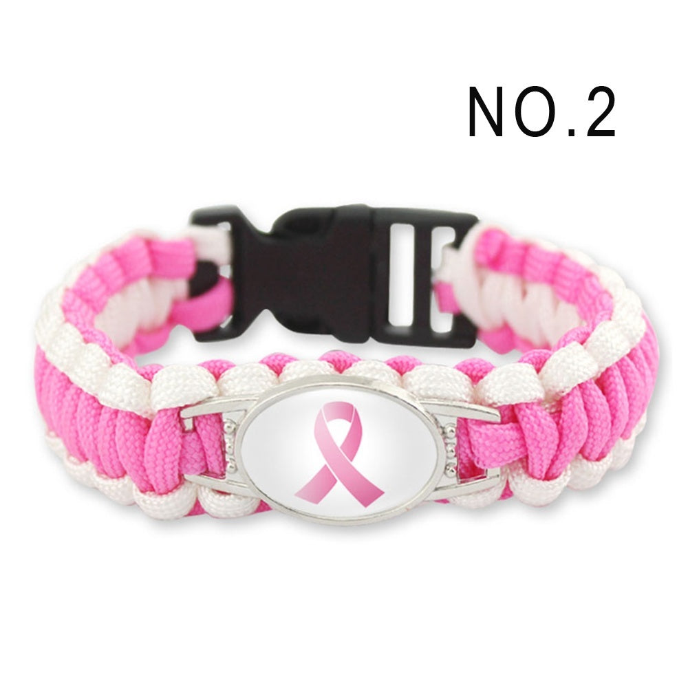 Fighter Breast Cancer Awareness Ribbon Survival Paracord Bracelets Glass Cabochon Bracelet Bangles For Women Kids