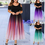Women Fashion Gradient Dress Ladies Casual Off Shoulder Long Dress Maxi Dress Plus Size