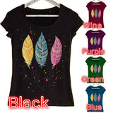 Women Short Sleeved T Shirts Cotton Casual Feather Printed O Neck T Shirts Tops S-5XL