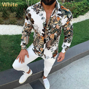 Men's Classic Print Slim Long Sleeve Lapel Shirt Men's Casual Handsome Daily Outing Shirt