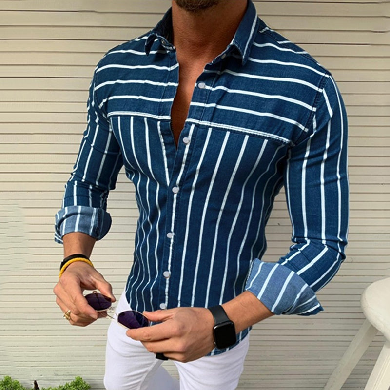3 Colors Men's Striped Casual Long Sleeve Top Slim Fit Business Dress Shirts Fashion Boys Clothing