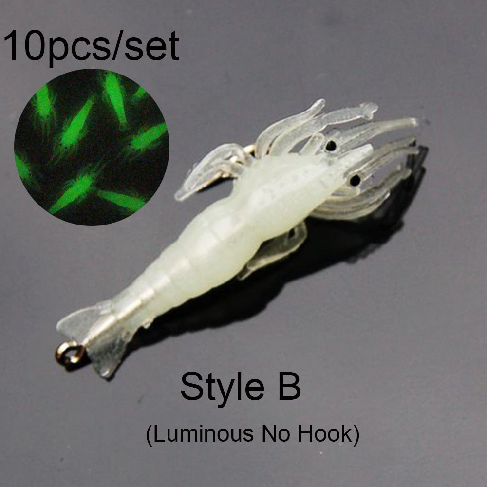 10Pcs New Lure Bait Shrimp Portable Soft Luminous Biomimetic Sea Fishing Hook Worm Silicone Prawn Lure Fake Bait