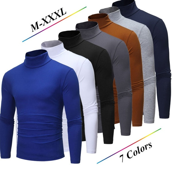 Men's Casual Slim Fit Thermal Turtleneck Pullover Sweater Wool Warm Compression Tops