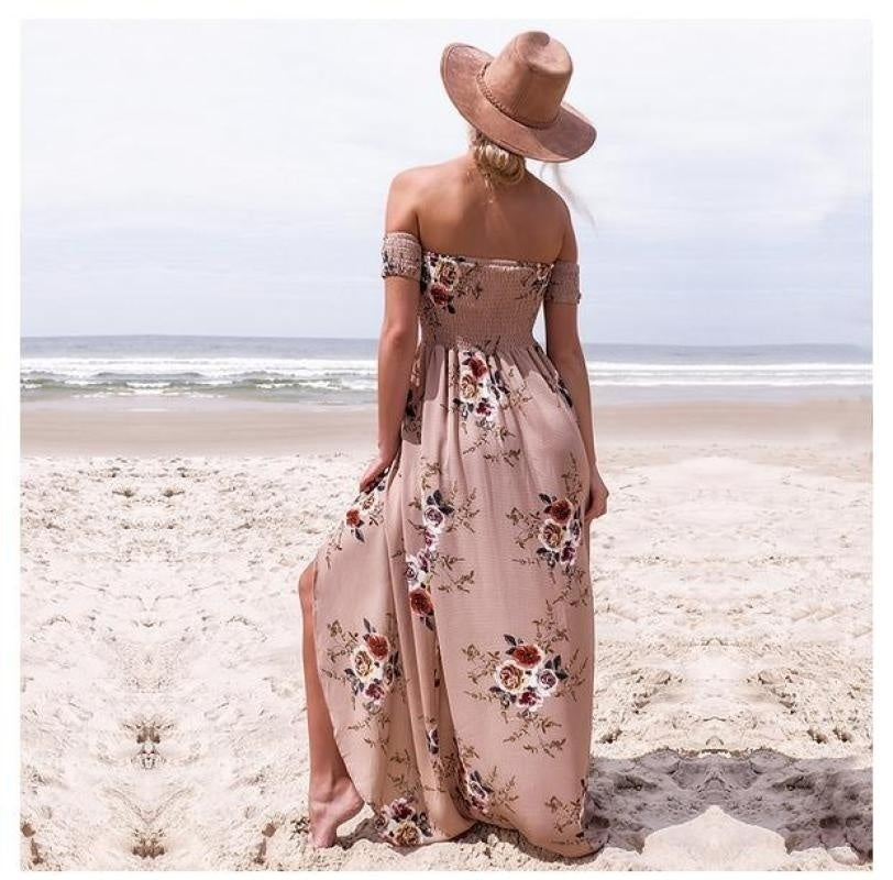 S-5XL Fashion Elegance Womens Party Wrap Chest Off Shoulder Loose Beach Printed Dress Slim Sexy Maxi Dress 5 Colors
