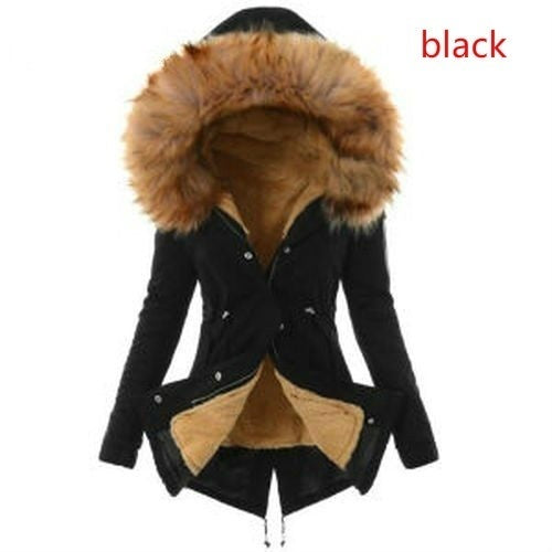 S-3XL Plus Size Winter Warm Cotton Jacket Women Big Fur Hoodie Down Jacket Long Coat Lady Casual Padded Jacket Solid Color Hooded Outwear Winter Overcoat