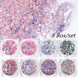 8 Box/Bag Holographic Nail Glitter Mermaid Powder Flakes Shiny Charms Hexagon Nail Art Pigment Dust Decoration Manicure