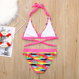 Children Girls Bikini Beach Print Swimsuit+Shorts Swimwear Set Outfit