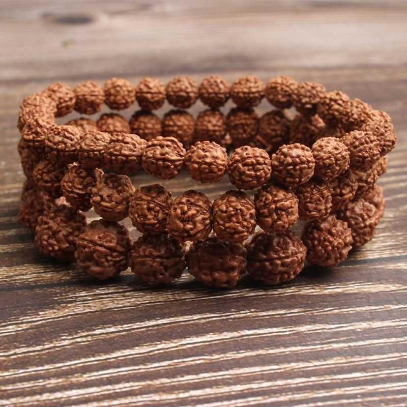 LanLi 6/8/10mm Fashion natural Jewelry light tan rudraksha beads bracelet be fit for men and women  Accessories and amulets
