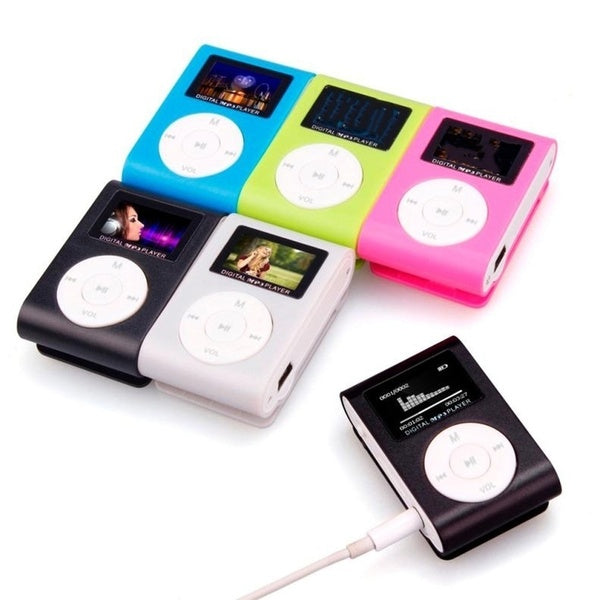 1 PC Portable Mini Sport MP3 Player with LCD Screen/Metal Clip FM Radio MP3 Music Player with Micro TF Card Slot