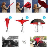 Windproof Reverse Folding Double Layer Inverted Rain Umbrella Self Stand Rain Protection C-Hook Hands For Car