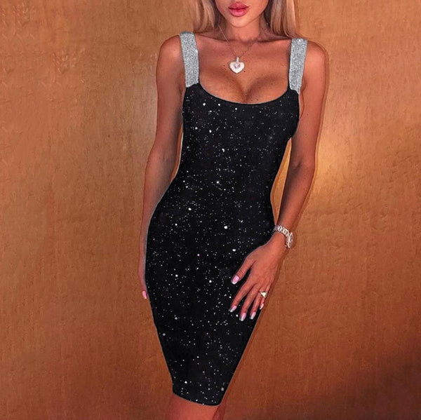 Summer Fashion Women Sexy Sleeveless Glitter Shimmer Backless Sheath Dress Party Club Cocktail Dress
