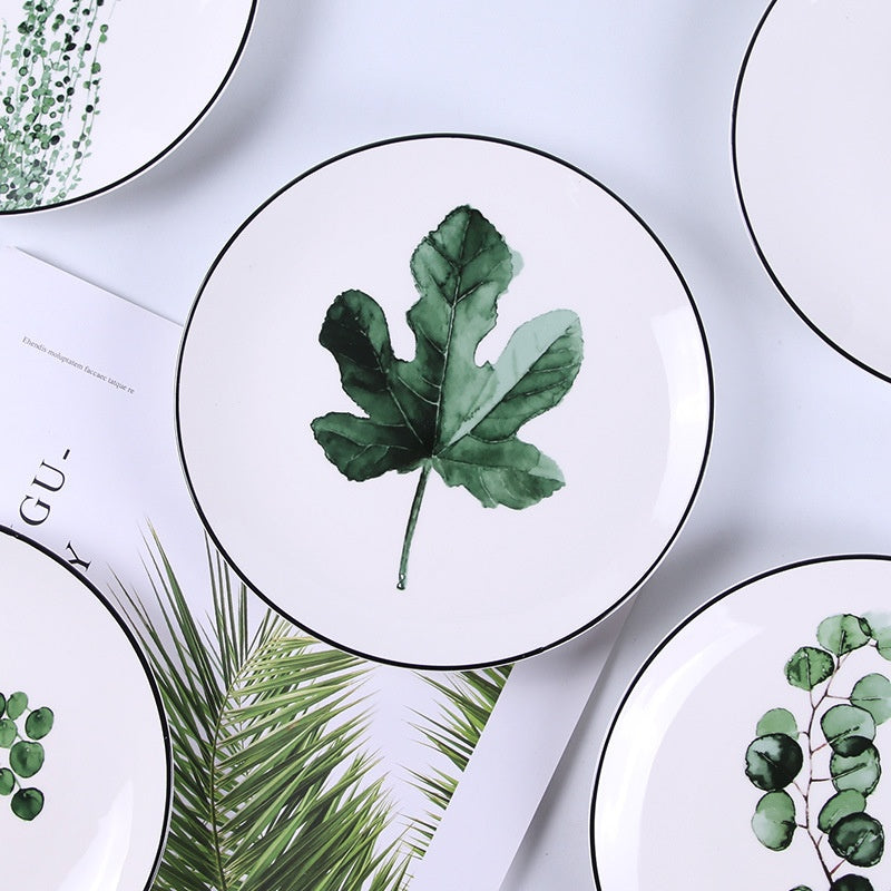"""Green Plants"" 8 inchs Beautiful Ceramic Plate Platter Tray Home Restaurant Party Dinnerware Tableware"