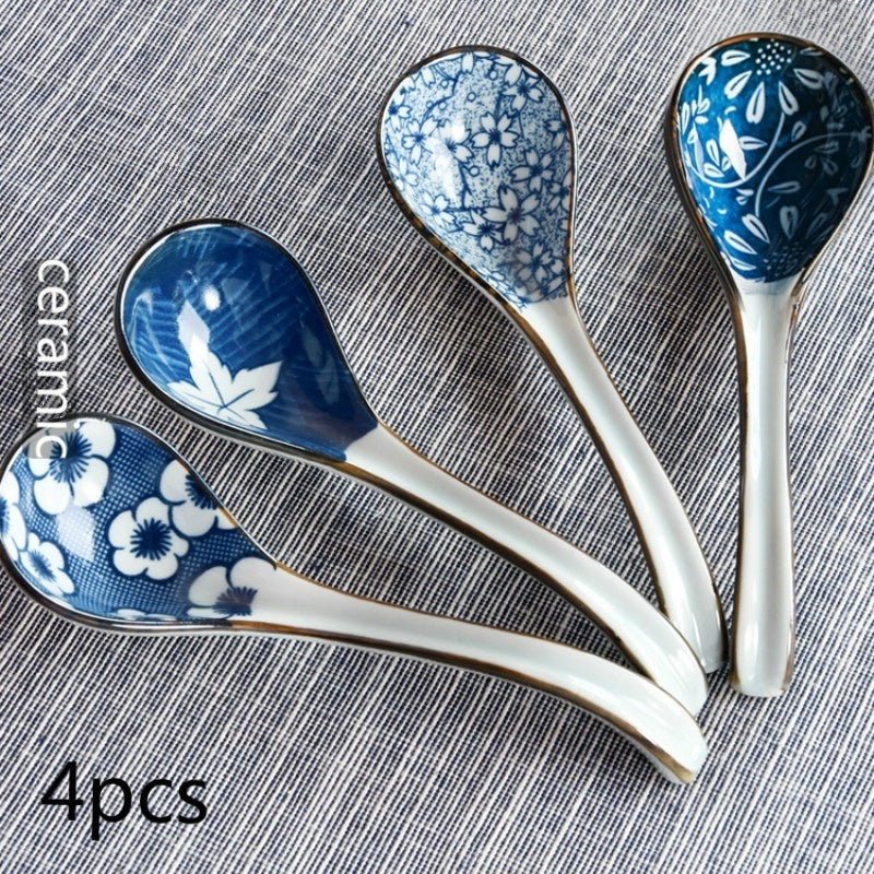 4pcs Ceramic Spoon Household Chinese Soup Spoons Cute Eating And Drinking Spoons Serving Spoon For Kitchen Supplies