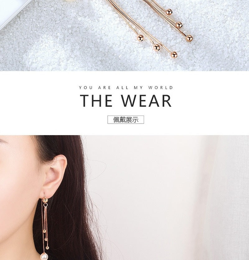 2020 Temperament Tassel Design In The Long Section of Light Body Pearl Ear Line Girl Small Fresh Beanie Box Ear Chain Japan and South Korea Earrings